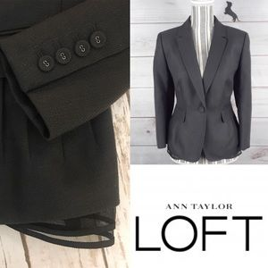 LOFT charcoal grey blazer with tulle hem detail